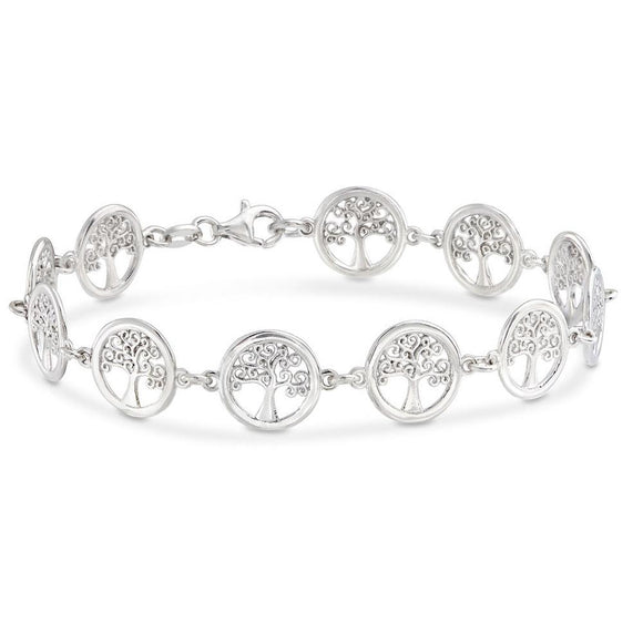 18K White Gold Plated Tree of Life Circular Design Classic Bracelet