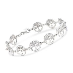 Tree of Life Disc Bracelet in 18K White Gold Plated