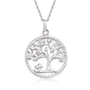 Praying to the Tree of Life Necklace in 18K White Gold Plated