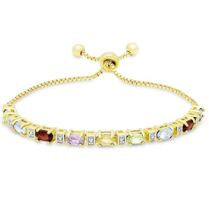 "Colors of the Rainbow Bolo Adjustable 7-9"" Bracelet in 18K Gold Plated"