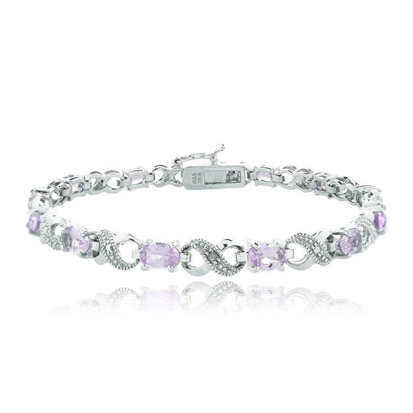 Genuine Oval Cut 6.00 CTTW Gemstone Infinity Shaped Bracelet in 18K White Gold