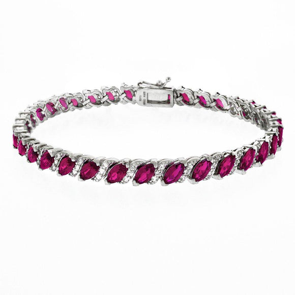 20.00 CT Genuine Pink Topaz Vine Bracelet Embellished with Swarovski Crystals in 18K White Gold Plated