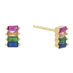 4 Stone Rainbow Baugette Stud Earring Embellished with Swarovski Crystals in 18K Gold Plated