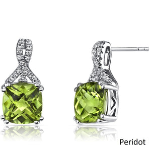 2.00 CT Cushion Cut Peridot Stud Earring in 18K White Gold Plated