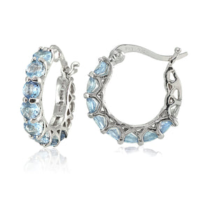 "4.00 CT Blue Topaz Gemstone 1"" French Lock Hoop Earringin 18K White Gold Plated"
