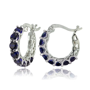 "4.00 CT Sapphire Gemstone 1"" French Lock Hoop Earringin 18K White Gold Plated"