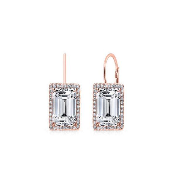 Emerald Cut Swarovski Elements Leverback Earrings in 14K Rose Gold Plating