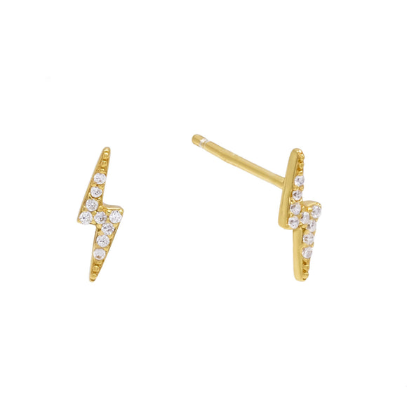 Swarovski Crystals Pave Lighting Bolt Stud  Earring