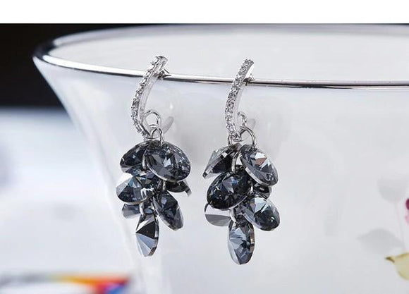 Black Swarovski Dangling Cluster Grapevine Earrings in 14K White Gold