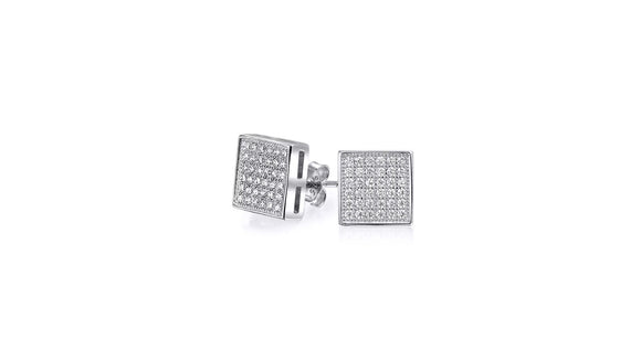 Swarovski Elements Micro-Pav'e Square Shaped Stud Earrings in 18K White Gold