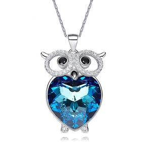 Swarovski Crystals Bermuda Blue Heart Owl  Necklace