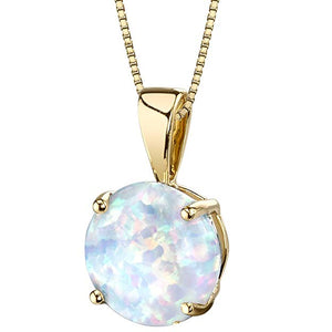 Opal Stone 1.00 Ct Opal Created Pendant Drop  Necklace