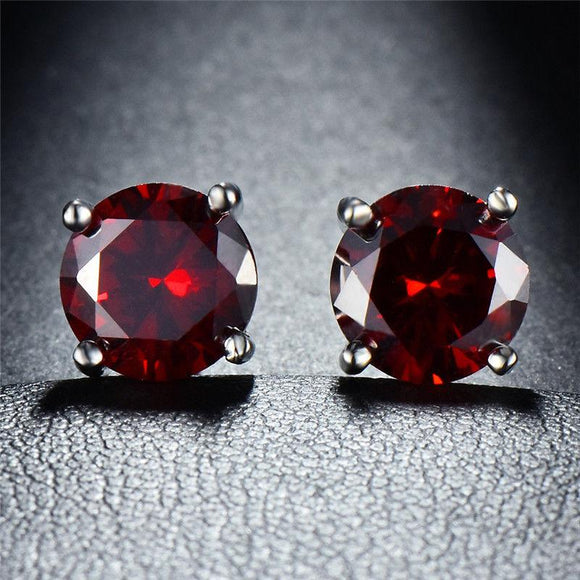 Ruby CreatedSwarovski Crystal 6mm Stud Earring 14K White Gold Plated - 1.00 CT