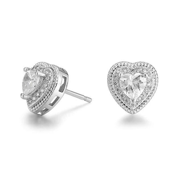 Pave Halo Heart Stud Earring Embellished with Swarovski Crystals in 18K White Gold Plated