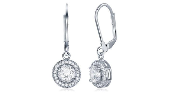 Pave Halo Disc Drop Earring Embellished with Swarovski Crystals in 18K White Gold Plated