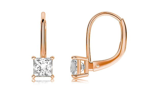 Diamond Princess Cut Leverback Earringin 18K Rose Gold Plated
