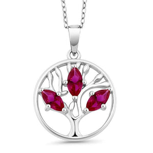 Motherly 2.00 CT Ruby Pear Cut Tree Of Life Necklace in 18K White Gold Plated