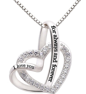 """I Love you Forever and Always"" Heart Necklace Embellished with Swarovski Crystals in 18K White Gold Plated"