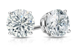 White Topaz Stud Earring in 14K White Gold Plated 4mm