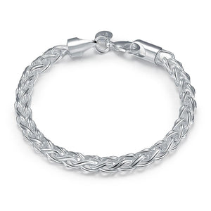 Popcorn Mesh Bracelet in 18K White Gold Plated 7.5""