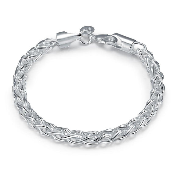 Popcorn Mesh Bracelet in 18K White Gold Plated 7.5