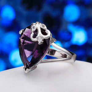 Amethyst Pear Cut 18K White Gold Ring