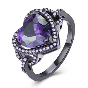Purple Swarovski Heart Shaped Cocktail Ring