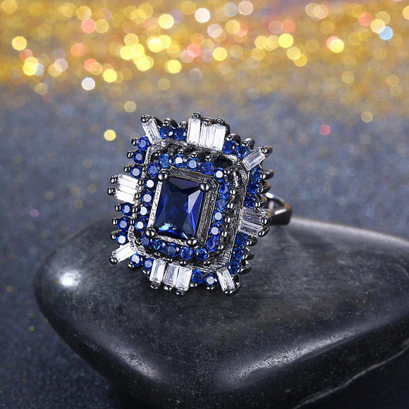 Blue & White Swarovski Halo Ring in Black Gun Plating