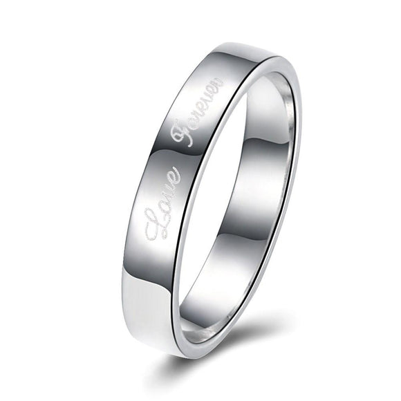 18K White Gold Plated  Lining Design Classic Ring