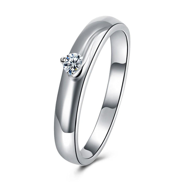 18K White Gold Plated  Single Stone Swarovski Solitare Ring