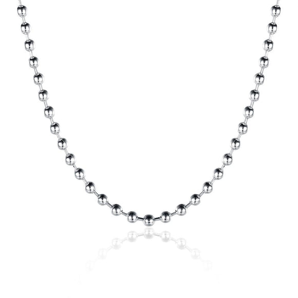 18K White Gold Plated  Mini Beaded Ball Chain Necklace