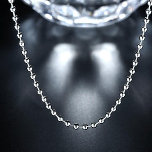 18K White Gold Plated  Sleek Ball Beaded Chain Necklace