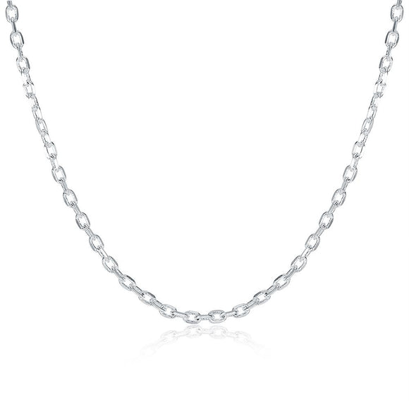 18K White Gold Plated  Mini Link Chain Necklace