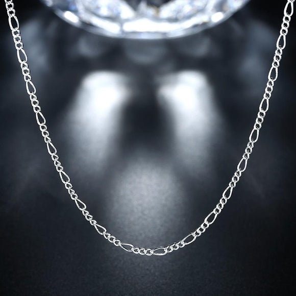 18K White Gold Plated  Cuban Figaro Chain Necklace