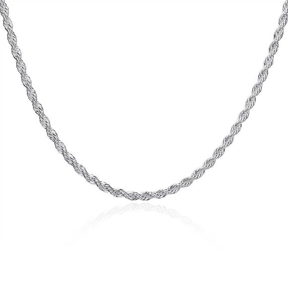 18K White Gold Plated  Twisted Rope Chain Necklace