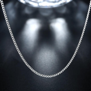 18K White Gold Plated  Classic Curb Chain Necklace