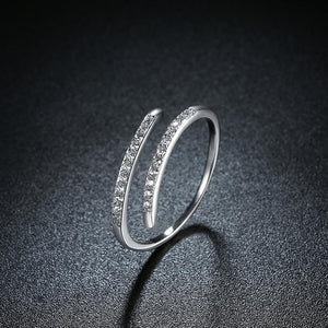 Sterling Silver Thin Lining Swarovski Open Ring