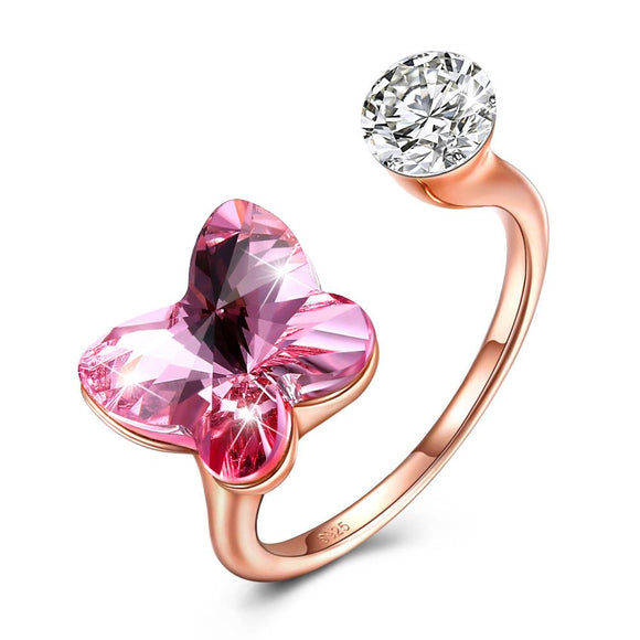 Pink Sapphire Butterfly Shaped Adjustable 18K Rose Gold Ring