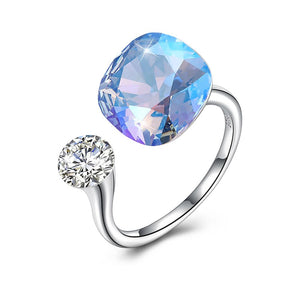 Blue Topaz Halo Cut Adjustble White Gold Ring