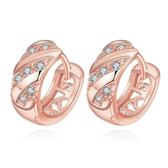 Layers Huggie Earrings in Rose Gold
