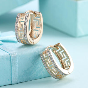 14K Gold Plated Swarovski Elements Roman Ingrain Pave Huggie Earrings