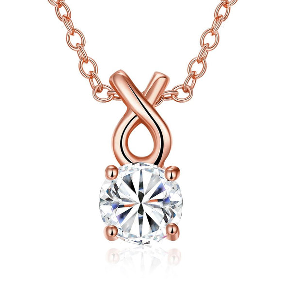 Single Solitaire Swarovski Infinite Drop Necklace in 14K Rose Gold
