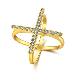 Swarovski Elements Criss-Cross Statement Ring Set in Gold