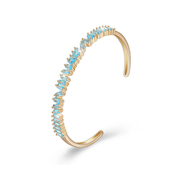 Assymetrical Emerald Cut Swarovski Bangle in 14K Gold - Blue