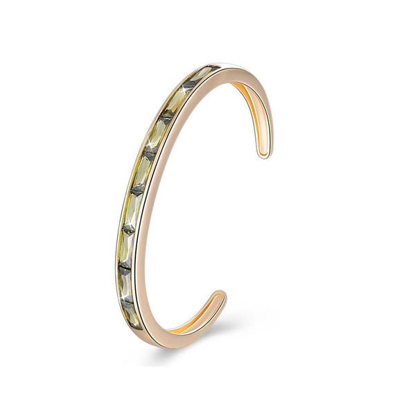 Swarovski Elements Emerald Cut Open Bangle - Green