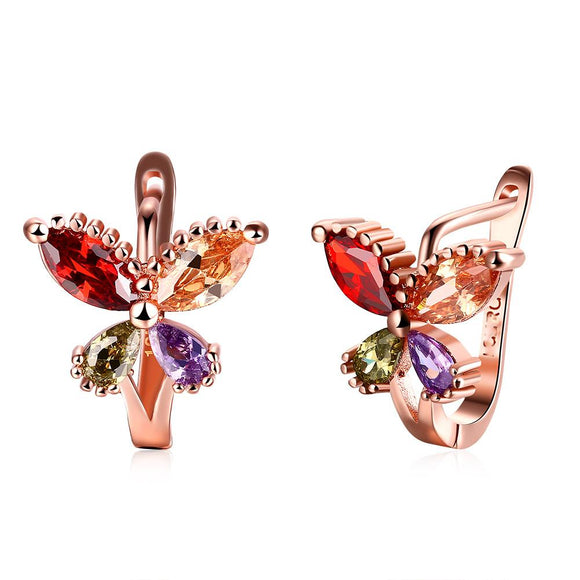 Rainbow Swarovski Butterfly Clip On Earrings in 14K Rose