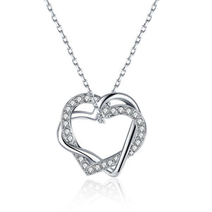 Duo Intertwined Heart Shaped Swarovski Elements Necklace in 18K White Gold