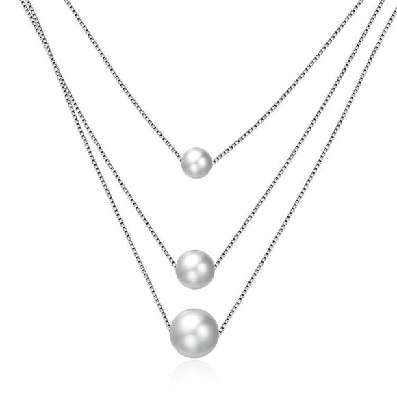 Triple Dangling Pearl Layering Sterling Silver Necklace