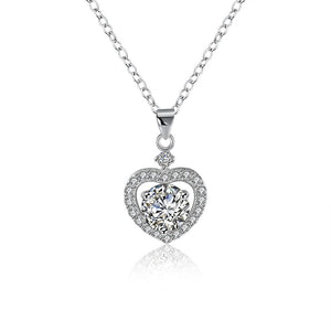 Sterling Silver Swarovski Elements Heart Shaped Necklace