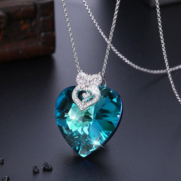 5.55 CT Heart Diamond Cut Galore Sterling Silver Swarovski Crystal Necklace